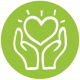 Web icons green Heart hands web